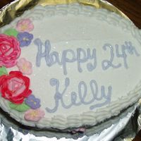 Birthday Cake Birthday cake for my friend. Frosted in buttercream, with royal icing flowers.