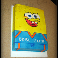 Sponge Bob In Jersey 1/4 sheet, Yellow cake with raspberry filling.Original idea from Cambo of Clever confections, only I did all mine in buttercream.Air...