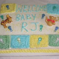 Pooh & Tig's Baby Shower Cake My Client wanted whiped icing, thats why it is not so smooth....