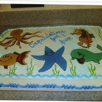 Baby Sea Creatures I love drawing pictures on cakes. I think it gives them a more complete look. My nephew's wife was having a baby sea creature theme...
