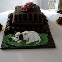 Fire Fighter Groom's Cake This is my favorite groom's cake ever. The cake is ganached and surrounded by dozens of chocolate strawberries. The fire chief's...