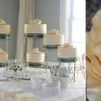 Callie's Non Traditional Wedding Cake Eight 2 layer cakes iced in ivory buttercream. I drug a spatula around the cakes to give them the look of horizontal stripes. This was my...