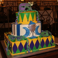 Mardi Gras Themed Groom's Cake Buttercream icing, fondant accents, gumpaste masks.