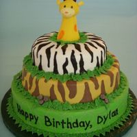 Animal Print Giraffe Cake This was made to look similar to a stacking toy the mom was using as a theme for the party. It has alligator, tiger and zebra prints piped...