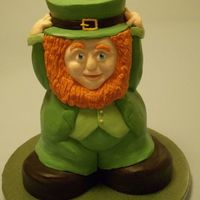 Darby The Leprechaun Pound cake sculpture covered entirely in buttercream... This one got First Place in the Professional division at the '09 Austin cake...
