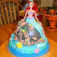 "Little Mermaid Cake Round white cake for ""sea floor"" with chocolate cake ""rock pile"". Buttercream filling under fondant rocks, details. The..."