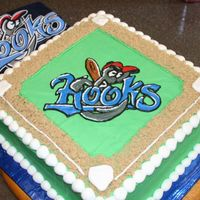 "Play Ball! Chocolate cake with buttercream frosting. Infield ""dirt"" is brown sugar."