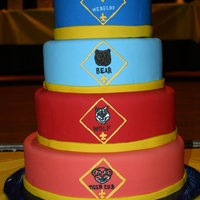 Cub Scout Banquet Each layer was chocolate chip cake with buttercream, covered in fondant. Each badge done by hand.
