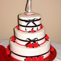 Black And Red Wedding Wedding was Black, white, and Red. BC frosting, roses, and leaves.