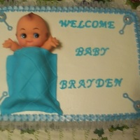 Baby Shower For A Boy BC frosting. Real lace and ribbon border. Real doll with fondant blanket.