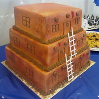 Pueblo Style House Southwestern style Pueblo house grooms cake. All BC frosting with tootsie rolls for the vegas.