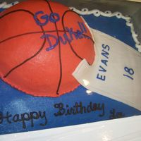 "Duke Fan Birthday My pastor's son's 18th birthday cake. He's a huge Duke fan. 1/2 ball pan, fondant for the ""jersey""."
