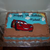 Lightning Mcqueen This is the first of two cakes I did to celebrate my son's 4th b-day. This one went to his pre-school for a b-day pizza party.