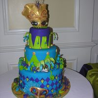 Masked Ball This cake was done for a 15th birthday. The theme was a Venetian Ball. All the masks were made out of gumpaste.