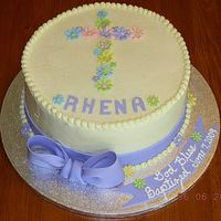 Baptism Cake Buttercream with fondant bows and flowers. The idea for this cake came from the The Pink Cake Box .