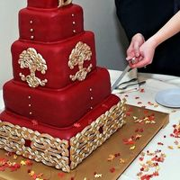 Red Celtic Knot Wedding Cake