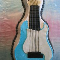 Stratocaster! chocolate cake with buttercream frosting, marzipan applique