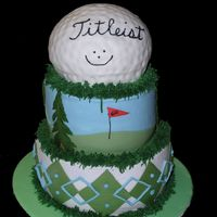 Golf Cake  Got the design inspiration from a cake by jylbug. Stayed up waaay to late doing this one...not my best work...but everyone loved it anyway...
