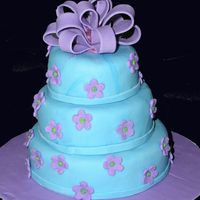 "Turquoise And Purple Tiny cake for a 2 yr old's birthday. it's a 5"" 4"" 3"" with MMF"