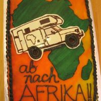 Off To Africa! an interesting cake for someone who is DRIVING to africa from GERMANY on an old rv to spend 6 months on safari :) chocolate cake filled...