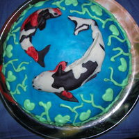 Koi Fish This was my second decorated cake I made, in august 2007. It was for my fathers birthday and the Koi are on the cake because he has some...