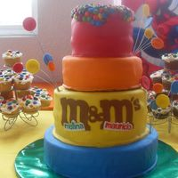 M&m's Cake  First two layers are vanilla cake and rocky road filling, and other 2 are choc. cake with coffe filling. Covered in MMF. Cupcakes are...