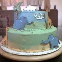 Safari Covered in buttercream and the palms, animals and clouds are chocolate.