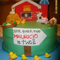 Farm Cake   The barn is a fondant decorated cookie, the animals are MMF, covered with buttercream