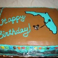 Florida Lover's Birthday Cake Chocolate cake w/buttercream. FBCT Florida and Mickey. M&Ms around the border.
