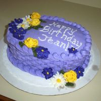 Purple Flower Basket Weave   All buttercream icing