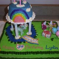 My Little Pony Birthday Cake  Made for my niece, all buttercream icing, except the ponies and balloons. Didn't want to buy the $10 MLP birthday set, so I just made...