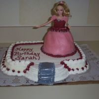 Barbie Doll Birthday Cake   All Buttercream icing. My barbie doll shrunk in stature overnight, should have used a base for her, maybe next time