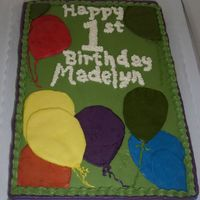 1St Birthday Cake Balloon Theme Made this for a 1st birthday. Attempted to match the plates/napkins being used. All buttercream. Made the balloons by freezing the...