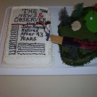 Golf And Newspaper Cake  This was for my dad who is an avid golfer and retired from working at a newspaper. It was his birthday and retirement day so I combined the...