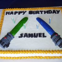 Star Wars Light Saber Birthday Cake   Everything was done in buttercream icing.