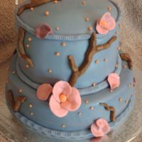 Melanie's Birthday French Vanilla WASC cake with vanilla cheesecake filling, covered in BC and fondant. Flowers, and branches are fondant and gumpaste.