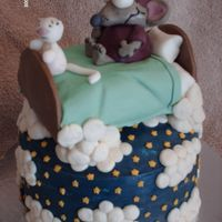 Toopy & Binoo Canadian cartoon characters....Chocolate cake with peanut butter filling covered in BC. Bed is cake with fondant and figures are fondant...