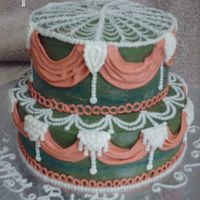 Swags & Pearls Chocolate cake with chocolate peanut butter filling, covered in BC. All decorations are BC.