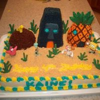 Spongebob Cake This is a cake that I did for my nephew for his 4th birthday. I did the houses of Patrick, Squidward and Spongebob. All are made of pound...