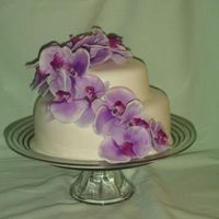 Purple_Cake_Dimple.jpg I needed to practice so I did this cake. The flowers are silk floral (I have not learned how to do the gum paste flowers yet :) MMF