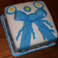 First Fondant Present Cake - Course Iii This is the first fondant covered cake I made, for Course III. It was white almond sour cream cake, with raspberry mousse filling.