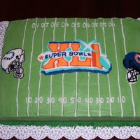 Super Bowl Xli Chocolate pound cake with cookies 'n cream filling; buttercream icing.