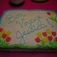 Bon Voyage Cake made with tulips for my friend who moved to Holland.