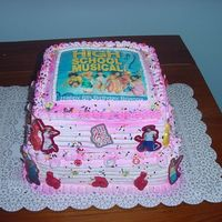 "High School Musical This cake was for my daughter's 6th birthday. It is a 10"" yellow cake with cho. pudding for the filling, a 8"" chocolate cake..."