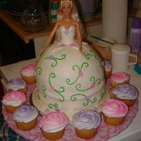 "Barbie Cake First time doing one... baked 1 cake mix in a KA bowl and then 2- 8"" rounds on the bottom for height. MMF dress."