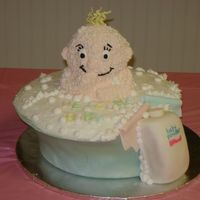 Baby In Tub This cake is completely edible. 5 separate cakes make this one... 3 in the pot, one for the baby, and one for the powder bottle. This is by...