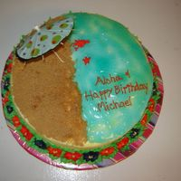 Beach Cake Piping gel water, brown sugar for the beach. Did it for a guy who is going on vacation to Hawaii for his 50th birthday.
