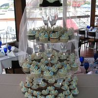 Wedding Cupcakes Top cake is WASC with MMF and silver dragees. Butter cream topped cupcakes with white chocolate monogram and gumpaste hydrangeas.