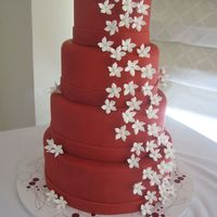 Stephanotis Red Wedding Cake This idea came from a fellow CC'er(jenniferMI) The bride wanted the color red, something plain, and stephanotis.....