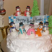 Winter Snowman Cake fondant snowmen with cooked fluffy frosting